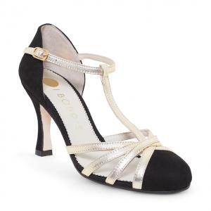 Zapato T-strap Ante Negro