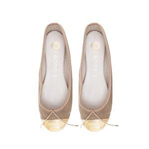 bailarina loneta beige puntera piel dorada