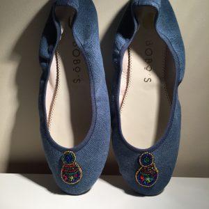 : bailarina loneta color jeans joya hechas a mano