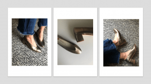 Zapato Tacón medio Piel Oro Viejo