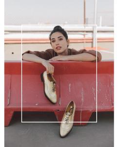 Zapato Oxford Dorado mujer cordones piel