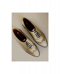 Zapato Mujer Oxford Dorado Cordones