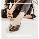 Bailarinas Mujer escotada Piel Negra Tachuelas