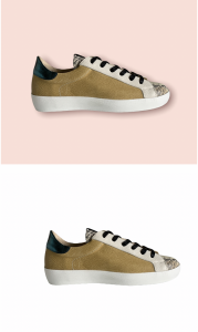 Sneaker Mostaza Piel Serpiente