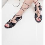 Sandalias Negras Cuero Tiras