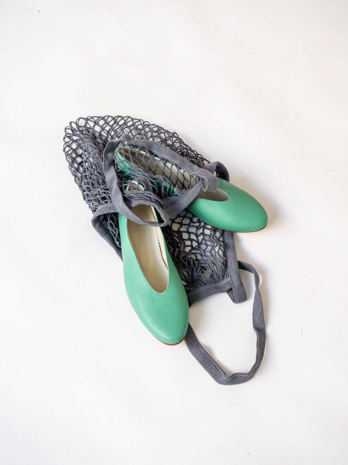 Bailarinas Piel Verde Menta Mujer