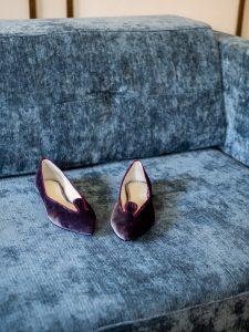 Bailarina Terciopelo color malva ribete vino