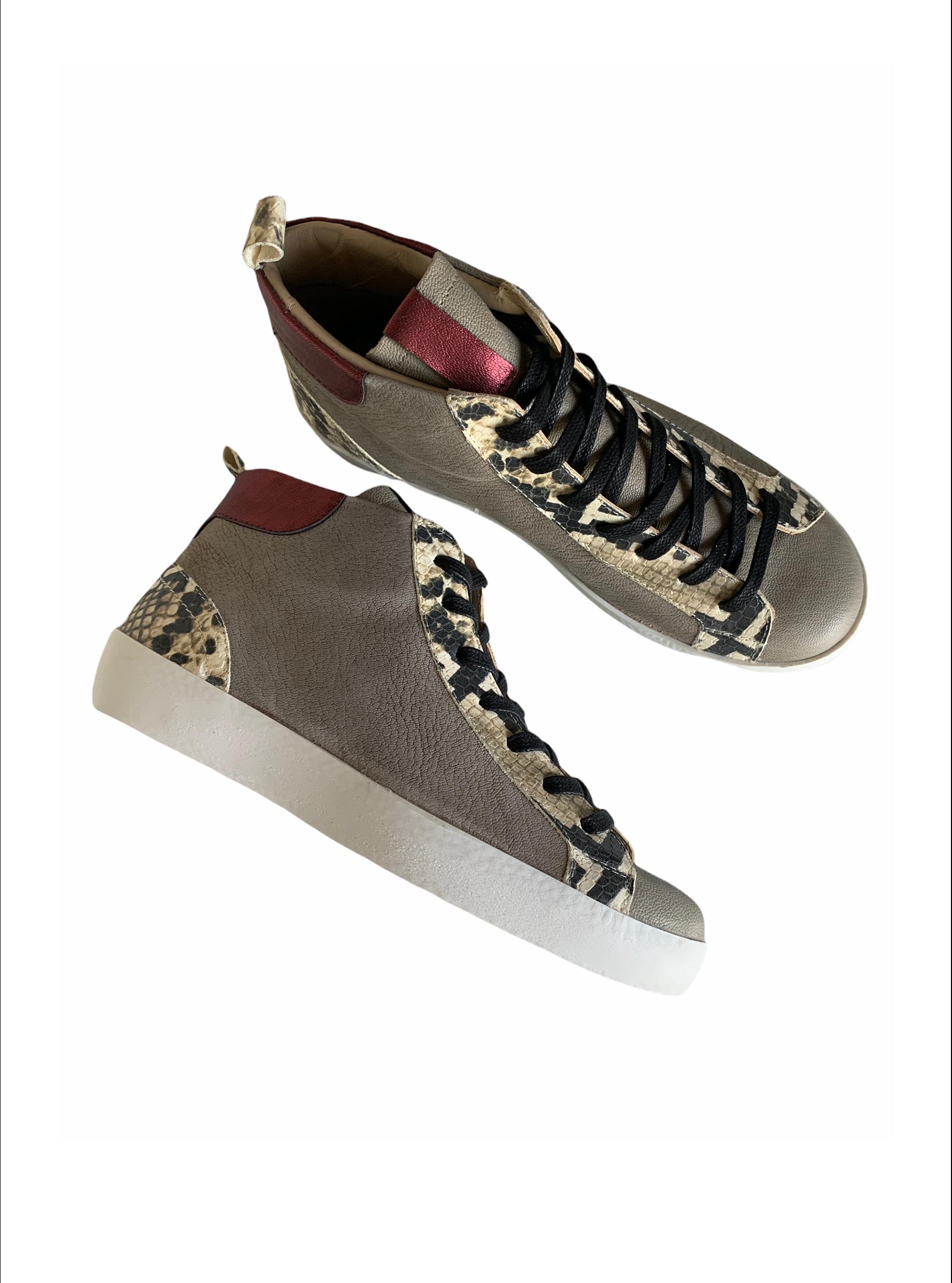Sneakers Bota Piel Serpiente